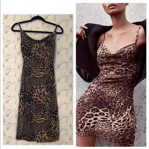 Leopard Cowl Neck Midi Dress